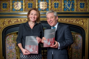 Natascha Engel MP alongside the Rt Hon John Bercow MP, Speaker of the House at the launch of the All-Party Parliamentary Inquiry Report on Electoral Conduct
